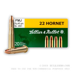 20 Rounds of .22 Hornet Ammo by Sellier & Bellot - 45gr FMJ