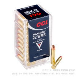 2000 Rounds of .22 WMR Ammo by CCI - 40gr TMJ