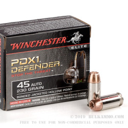 200 Rounds of .45 ACP Ammo by Winchester - 230gr JHP