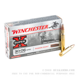 20 Rounds of 30-06 Springfield Ammo by Winchester - 180gr PP