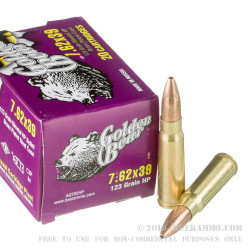 500 Rounds of 7.62x39mm Ammo by Golden Bear - 123gr JHP