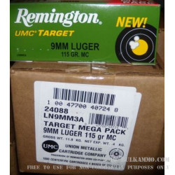 1000 Rounds of 9mm Nickel Plated Ammo by Remington - 115gr MC
