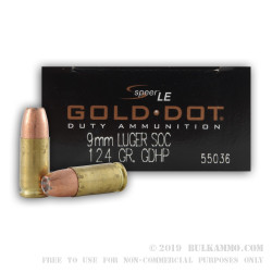 50 Rounds of 9mm Ammo by Speer Water-Resistant SOC Dive Ammo - 124gr Gold Dot Hollow Point