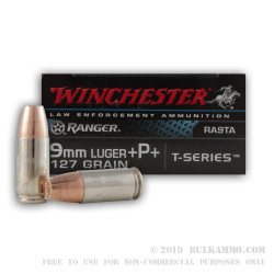 50 Rounds of 9mm +P+ Ammo by Winchester Ranger T-Series - 127gr JHP