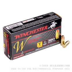 50 Rounds of .380 ACP Ammo by Winchester Train & Defend - 95gr FMJ