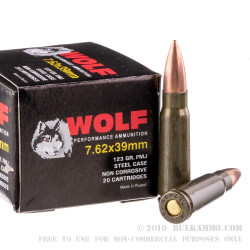 20 Rounds of 7.62x39mm Ammo by Wolf Polyformance - 123gr FMJ