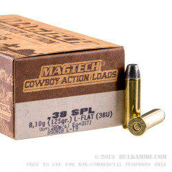 50 Rounds of .38 Spl Ammo by Magtech - 125gr LFN