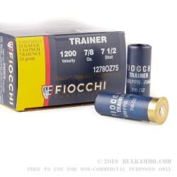 250 Rounds of 12ga Low Recoil Trainer Target Ammo by Fiocchi - 7/8 ounce #7 1/2 shot