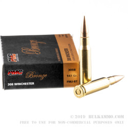 20 Rounds of .308 Win Ammo by PMC - 147gr FMJBT