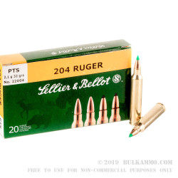 20 Rounds of .204 Ruger Ammo by Sellier & Bellot - 32 gr PTS