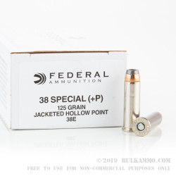 1000 Rounds of .38 Spl +P Ammo by Federal Classic - 125gr JHP Hi-Shok