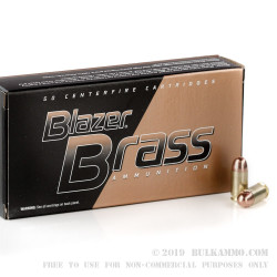 1000 Rounds of .380 ACP Ammo by Blazer Brass - 95gr FMJ