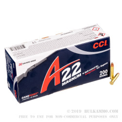 200 Rounds of .22 WMR Ammo by CCI - 35 gr GamePoint JSP