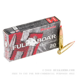 20 Rounds of .300 AAC Blackout Ammo by Hornady Full Boar - 110gr GMX