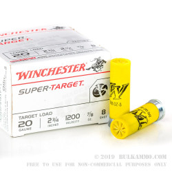"""25 Rounds of 20ga - 2-3/4"""" - Ammo by Winchester - 7/8 ounce - #8 shot - Super Target"""