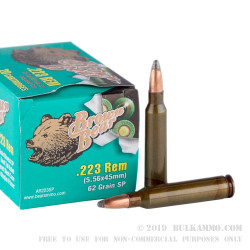 500  Rounds of .223 Ammo by Brown Bear - 62gr SP