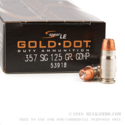 1000 Rounds of .357 SIG Ammo by Speer Gold Dot - 125gr JHP