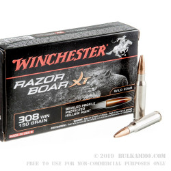 200 Rounds of .308 Win Ammo by Winchester Razorback XT - 150gr HP