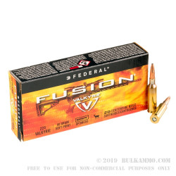 200 Rounds of .224 Valkyrie Ammo by Federal Fusion MSR - 90gr SP