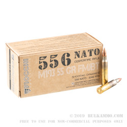 1000 Rounds of 5.56x45 Ammo by Fiocchi - 55gr FMJBT M193