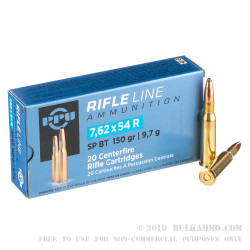 20 Rounds of 7.62x54r Ammo by Prvi Partizan - 150gr SPBT
