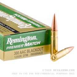 20 Rounds of .300 AAC Blackout Ammo by Remington - 125gr OTM