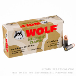 800 Rounds of 9mm Ammo by Wolf Military Classic - 115gr FMJ