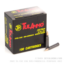 100 Rounds of .223 Ammo by Tula - 55gr FMJ