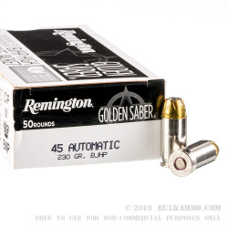 50 Rounds of .45 ACP Ammo by Remington - 230gr JHP