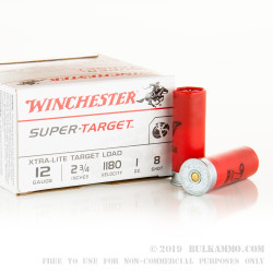 25 Rounds of 12ga Ammo by Winchester Super Target - 1 ounce #8 shot