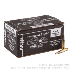 150 Rounds of 5.56x45 Ammo by Federal American Eagle -  55 Grain FMJ