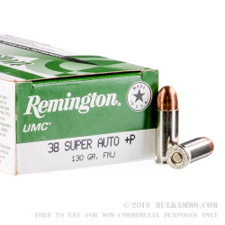 500 Rounds of .38 Super + P Ammo by Remington - 130gr FMJ