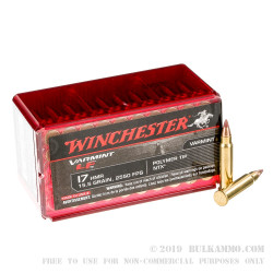 50 Rounds of .17HMR Ammo by Winchester Non-Toxic - 15.5gr Polymer Tipped