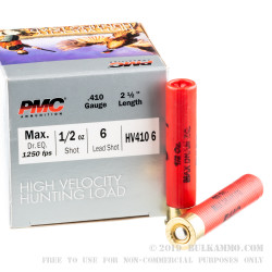 250 Rounds of .410 Ammo by PMC High Velocity Hunting Load - 1/2 ounce #6 Shot