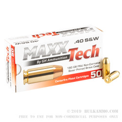 50 Rounds of .40 S&W Ammo by MAXX Tech - 180gr FMJ