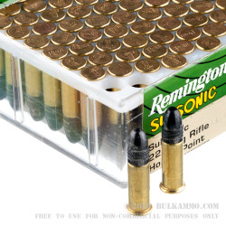100 Rounds of .22 LR Ammo by Remington Subsonic - 38gr LHP