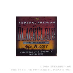 """250 Rounds of 12ga 3"""" Ammo by Federal Black Cloud FS Steel High Velocity - 1 1/8 ounce #4 shot"""