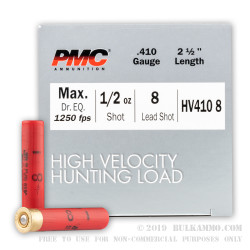 250 Rounds of .410 Ammo by PMC High Velocity Hunting Load - 1/2 ounce #8 Shot