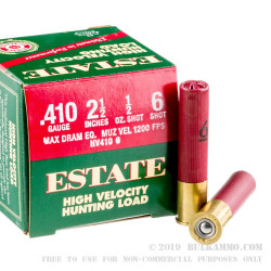 250 Rounds of .410 Ammo by Estate Cartridge - 1/2 ounce #6 shot