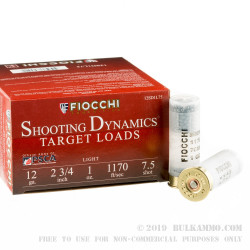 250 Rounds of 12ga Ammo by Fiocchi - 1 ounce #7.5 shot