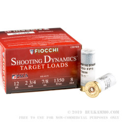 250 Rounds of 12ga Ammo by Fiocchi - 7/8 ounce #8 shot