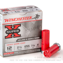 "25 Rounds of 12ga Ammo by Winchester Super-X - 2-3/4"" 1 1/8 ounce #4 shot"