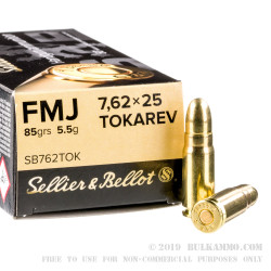 1500 Rounds of 7.62 Tokarev Ammo by Sellier & Bellot - 85gr FMJ