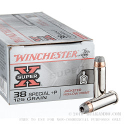 50 Rounds of .38 Spl Ammo by Winchester Super-X - 125gr SJHP +P