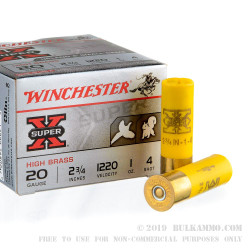 250 Rounds of 20ga Ammo by Winchester Super-X - 1 ounce #4 shot