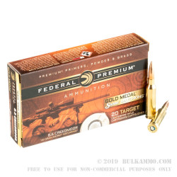 200 Rounds of 6.5 mm Creedmoor Ammo by Federal Gold Medal - 140gr HPBT