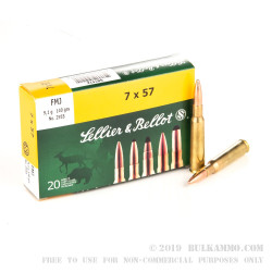 20 Rounds of 7x57mm Mauser Ammo by Sellier & Bellot - 140gr FMJ