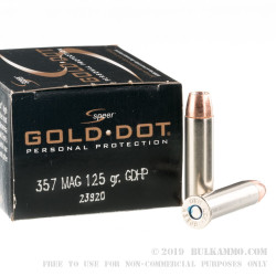 20 Rounds of .357 Mag Ammo by Speer Gold Dot - 125gr JHP