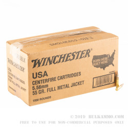 1000 Rounds of 5.56x45 Ammo by Winchester - 55gr FMJ