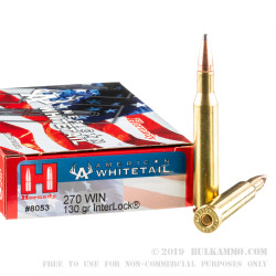 20 Rounds of .270 Win Ammo by Hornady American Whitetail - 130gr SP